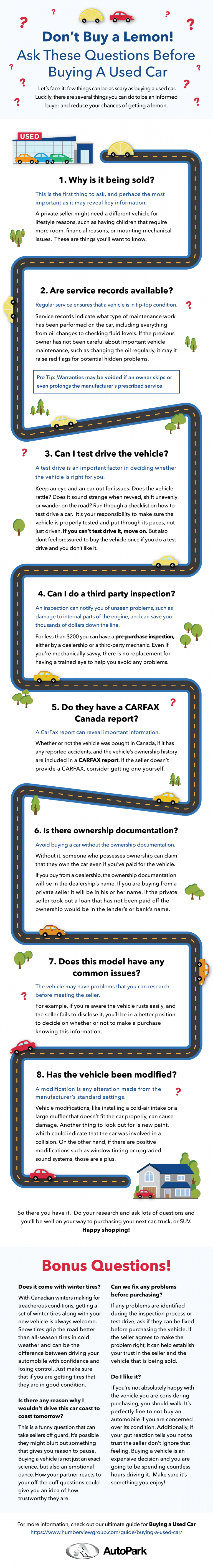 infographic explaining what questions to ask when buying a used car